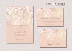 Printable Gold and Blush Bokeh Wedding Invitation by encrestudio, $50.00