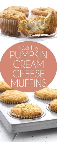 Popular low carb pumpkin muffins stuffed with sugar-free cream cheese filling. A healthy Starbucks copycat recipe. Keto THM LCHF. via @dreamaboutfood