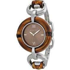 393d06b50d4 Gucci Bamboo Brown Dial Stainless Steel Ladies Watch