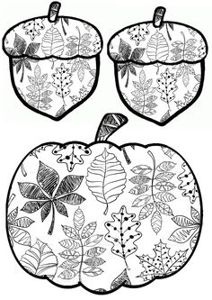 Coloring pumpkin and oaks Fall Coloring Pages, Coloring Book Art, Coloring Pages For Kids, Coloring Sheets, Fall Crafts For Kids, Art For Kids, Fall Art Projects, Fall Sewing, Doodle Designs