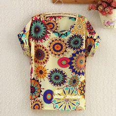 blusas femininas 2017 Women Tees roupas femininas fashion T Shirts Women Loose Fit Batwing Print Pattern TOPS Chiffon T-Shirt