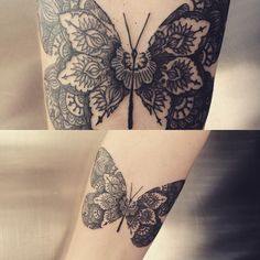 ·Butterfly Mandala Tattoo· by Ynnopya and Daniel Berdiel For Jason. With his footprint.