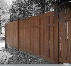 Vintage style photograph of the NEW Grand Illusions Vinyl WoodBond Rosewood (W104) vinyl pvc wood grain fence. #homeideas #backyardideas #homedecor #hgtv #illusionsfence (Outdoor Wood Railing)
