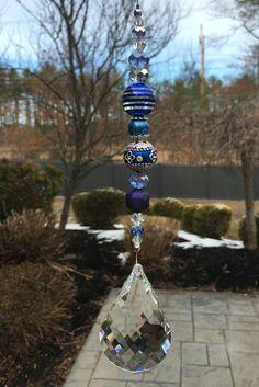 Blue Fancy Swiss Crystal Suncatcher 2.5 by HeavenlyLightCrystal