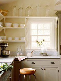 Open Kitchen Storage - this is very nice. Clean lines, open--with window.