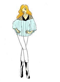 Croquis réalisé par Milouch GOTTE. Chemise pancho turquoise avec dentelle sur les épaules. Pantalon blanc avec bottines motif vache