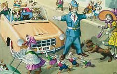 Eugene Hartung Artist Signed Mainzer Dressed Cats Police Duck Crossing Postcard
