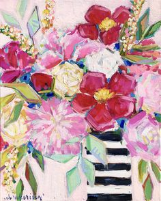 Love this floral painting for my home! // girly home decor // Abstract flower painting // colorful floral in striped vase // black and white stripes // peonies // peony painting // Flower Painting Abstract, Flowers In Vase Painting, Peony Painting, Abstract Flowers, Bohemian Flowers, Rose Art, Picts, Arte Floral, Colorful Drawings