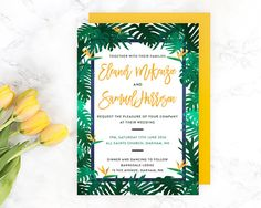 Wedding Invitation Tropical Summer Template by WednesdayDesigns Diy Wedding Invitations Templates, Simple Wedding Invitations, Invites, Simple Weddings, Wednesday, Easy Diy, Tropical, Handmade Gifts, Summer