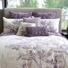 Featuring organic combed cotton construction, these sophisticated and fresh reversible duvet covers are perfect for enhancing the look of any bedroom. Delightful shades of purple complete their stylish look. Comes with matching sham(s). Purple Bedrooms, Bedroom Colors, Bedroom Decor, Beige Bed Linen, Luxury Bedding Sets, Purple Bedding Sets, Bed Duvet Covers, My New Room, Beautiful Bedrooms