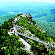Mile High Swinging Bridge at Grandfather Mountain in Linville, North Carolina, US