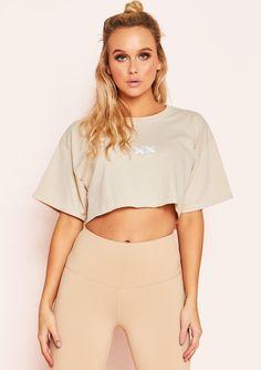542b7f2b37 Missyempire - Trixie Nude Branded Cropped T-Shirt Crop T Shirt