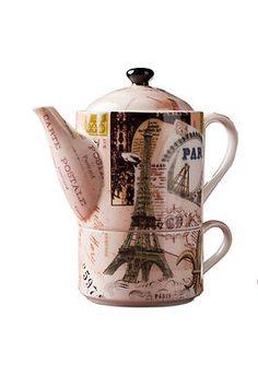 Paris Postale Postal Tea For One Teapot & Teacup Set