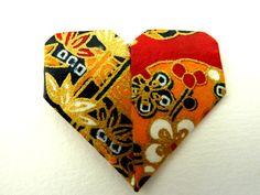 broche coeur  origami rose bijoux origami papier par papierelief