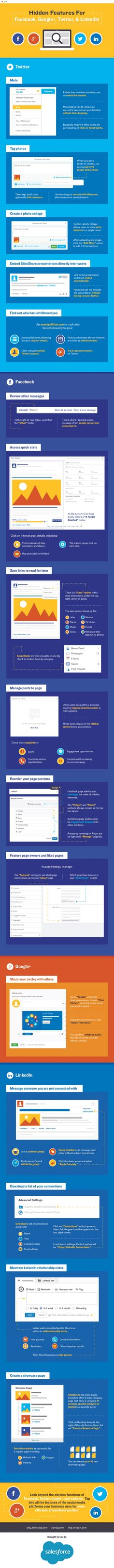 Facebook, Google+, Twitter, LinkedIn Hidden Features (Infographic)