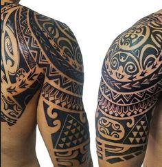 polynesian-half-sleeve-tattoo