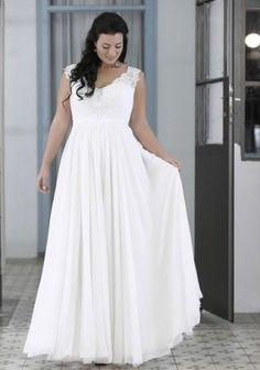 Plus Size Chiffon Bridal Gown with wide beaded Lace Shoulder Straps / Empire Waist Plus Size Wedding Gowns / This sleeveless gown designed for a full figured curvy bride can be made with ANY changes / Contact us for details and pricing - www.dariuscordell.com/featured/plus-size-wedding-dresses-bridal-gowns/