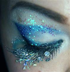 Blue Glitter Makeup
