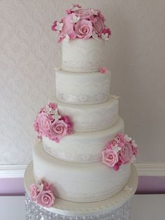 Pink and Ivory wedding cake by Corr's cakes