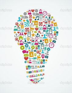 Arquivo de eps10 mídias sociais ícones idéia isolado lâmpada ...