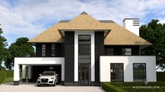 Villa zwart wit rieten kap House Paint Exterior, Exterior House Colors, Modern Exterior, Exterior Design, Thatched House, Exterior Cladding, Bungalow, House Goals, Modern House Design