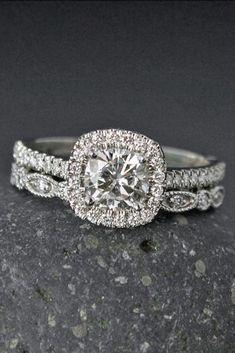 Sparkle Like A Diamond: 12 Moissanite Engagement Rings ❤ See more: http://www.weddingforward.com/moissanite-engagement-rings/ #weddings #weddingring