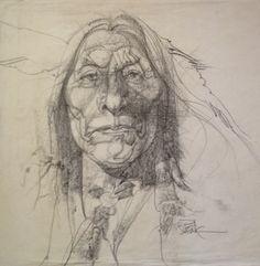 Pencil Drawing Patterns Native American Indian - Sitting Bull - Drawing/illustration art by Bob Peak Anatomy Sketches, Drawing Sketches, American Illustration, Illustration Art, Face Pencil Drawing, Drawing Faces, Bob Peak, Portrait Sketches, Ad Art
