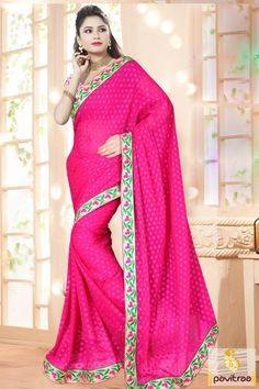 Shine your beauty with sparkling dark pink georgette wedding party saree with best prices with Diwali and New Year discount deals. Shop online designer Diwali embroidery saree online from our store with Cash On Delivery (COD). #sarees, #embroiderysaree, #partywearsaree, #diwalisareecollection, #weddingwearsaree, #indiansaree, #sareewithblouse More : http://www.pavitraa.in/store/diwali-sarees-collection/ Call / WhatsApp : +91-76982-34040  E-mail: info@pavitraa.in