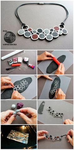 DIY Polymer Clay Circles Necklace Tutorial
