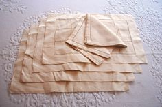 Hand Embroidered Linen Placemats/Napkins~Set of 4