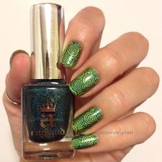 Here's an all green stamped mani! Nail Polish: Enchanted Polish - March 2014, A England - St. George, MoYou Sailor Plate - 03, Seche Vite - Dry Fast Top Coat