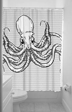 Octopus Fabric Shower Curtain