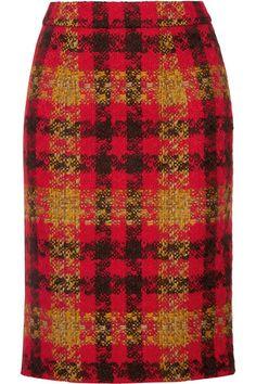 Miu Miu - Houndstooth Wool-tweed Skirt - Red - IT42