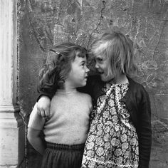 Black and white photo | Vintage| Two little girl friends