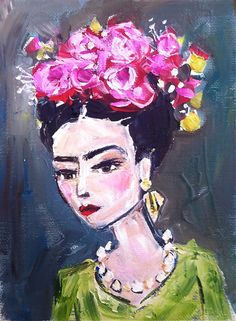 Frida Kahlo Painting whimsical by DevinePaintings on Etsy