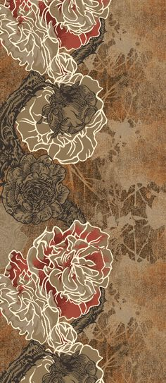 The classic rose & the Camélia flower with its mystical symmetry have been favo. The classic rose Motifs Textiles, Textile Patterns, Print Patterns, Textile Art, Tag Design, Icon Design, Club Design, Wall Carpet, Rugs On Carpet
