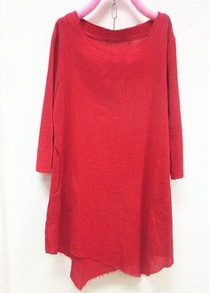 Tuesday look - Red linen asymmetric long sleeved shirt by MaLieb on Etsy, $68.00