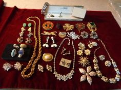 45 pc lot Higher End Vintage Designer Signed Costume Jewelry plus 2 boxes 2 tags