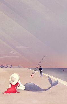 """Keep Fishing"" by Schwebewesen   Romina Lutz #vintage #mermaid #arielle #illustration #fish #fishing #beach #digital #vector #art"