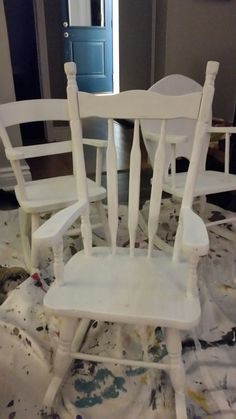 Wooden chairs sanded and primered