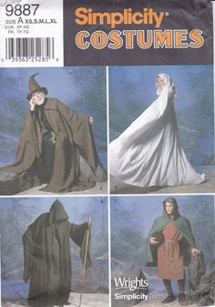 FREE us SHIP Sewing Pattern Simplicity 9887 Costume Adult Mens Miss S/ XL Halloween Renaissance Medieval Wizard Reaper Chest 30 - 48 New by LanetzLiving on Etsy