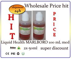Shisha Pipes hit Liquid Health MARLBORO 100mL med 2x-50ml super discountr