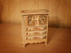 Miniature Cabinet 1/12  Dollhouse Miniature by shopKristi on Etsy