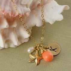 Personalized Bridesmaid Gift Gold Starfish by anatoliantaledesign, $39.00