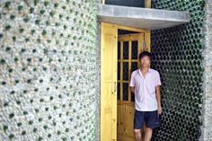 Aspiring Chinese architect Li Rongjun built his office out of 8,500 recycled beer bottles