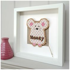 Gorgeous 'Peony and Sage' linen mice... with oak cut letters a beautiful unique gift for every little one's nursery wall www.notonthehighstreet.com/littlefoundry