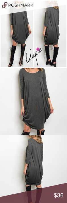 "❗1-DAY SALE❗Elegant Side Drape Gray Dress Elegant  side Drape gray jersey Knit dress featuring 3/4 sleeves and a scoop neck. Measurements for small: length 41""/ bust 36"" Made of Rayon/ Spandex Blend. Bchic Dresses"
