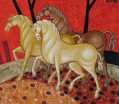 Link leads to enlarged photos able to see details of painting technique Painting Process, Painting Techniques, Painting & Drawing, Byzantine Art, Byzantine Icons, Horse Illustration, Bible Images, Orthodox Icons, Equine Art