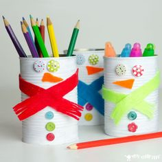 Kids will love turning old tin cans into Snowman Desk Tidies or even a Snowman Bowling Game! A fun way to up-cycle!