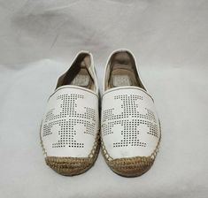 Size 8 These are in used condition Soft nappa leather in white No holes Soles are in excellent condition Tory Burch Flats, Espadrilles, Leather, Fashion, Espadrilles Outfit, Moda, Fashion Styles, Fashion Illustrations